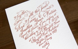 Heart Letterpress Invite