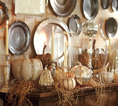 pottery barn metallic pumpkins